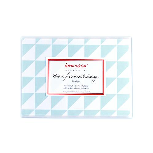 Briefumschläge, 10 Stück mit Etiketten, Dreiecke