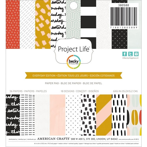 Paper Pad - American Crafts - Everyday - 6 Blätter