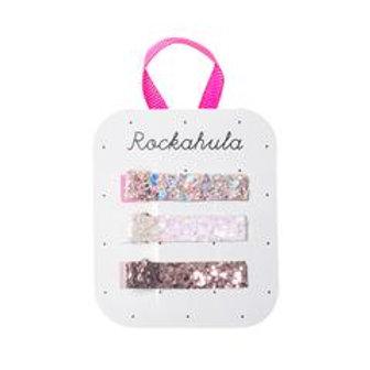3er Set Glitter Haarspangen von Rockahula pink / gold