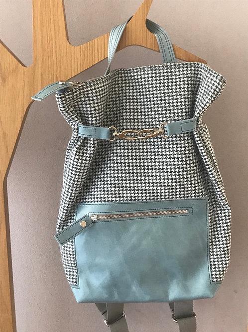 Rucksack aus Stoff und Leder blau - Schweizer Handarbeit