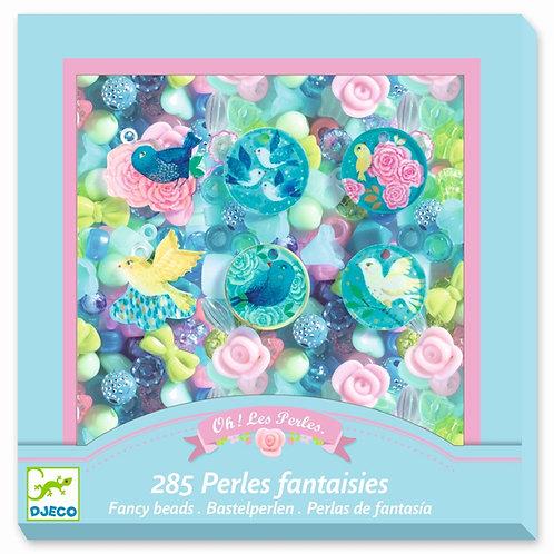 285 Fantasieperlen -Vögel und Blumen