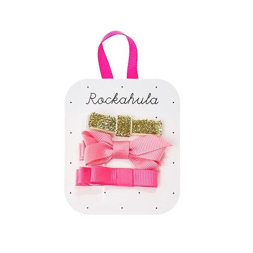 3er Set Haarclips Masche pink/gold  von Rockahula