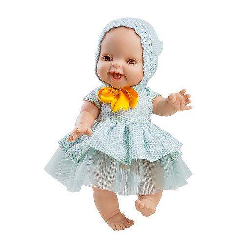 Babypuppe Mädchen hell  - 34 cm mit Türkis Kleid