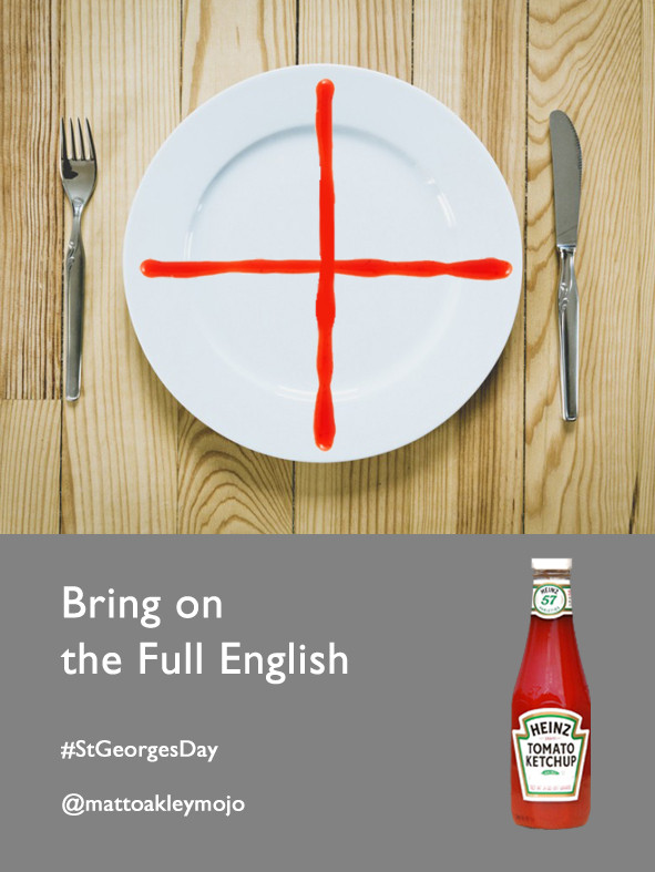 Advert design for OneMinuteBriefs St George's Day challenge.