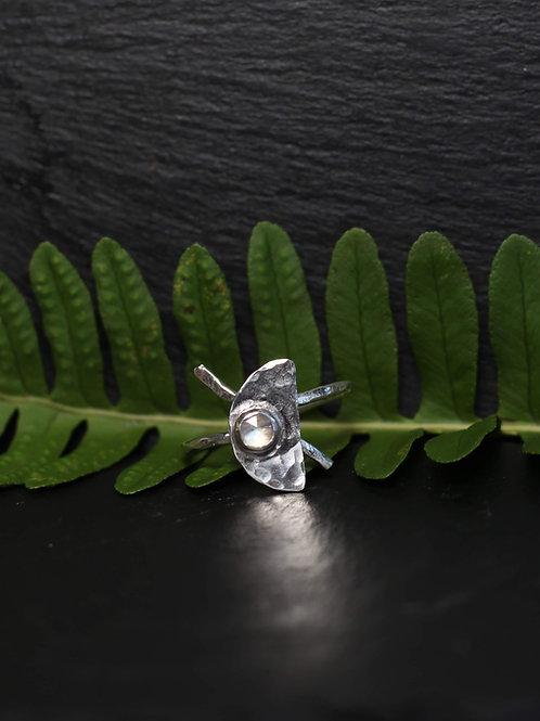 Silver Half-Moon moonstone Ring