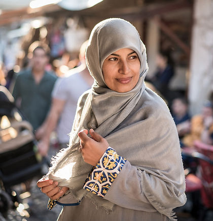 Woman wearing hijab in a bazaar