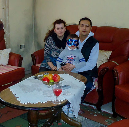 Albanian family in living room