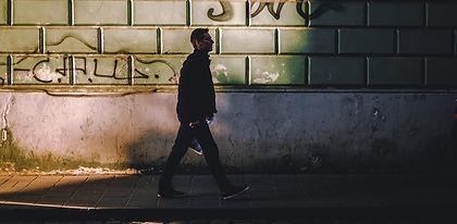 Man on street in Lviv Ukraine