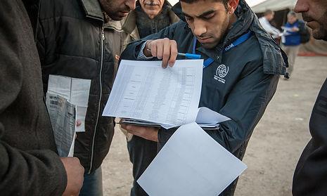 Man checking a list