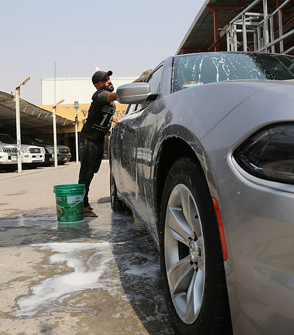 Man washing car