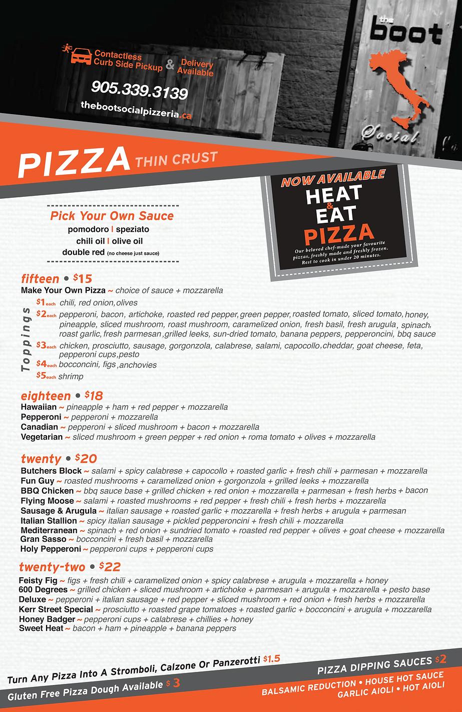 Pizza Menu 2021