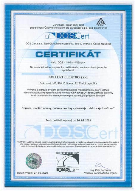 Certifikat ČSN EN ISO 14001:2016