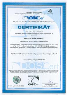 Certifikat ČSN OHSAS 18001:2008