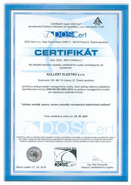 Certifikat ČSN EN ISO 9001:2016