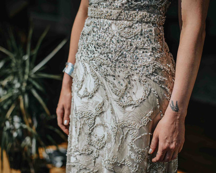 bespoke detailed wedding dress in gold p Galway wedding photographer
