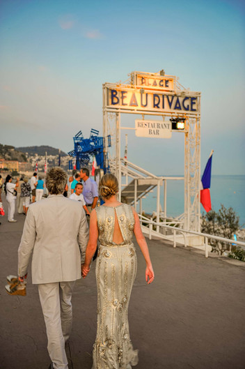Bride and groom walking down the prom in Nice france - Galway wedding photograper