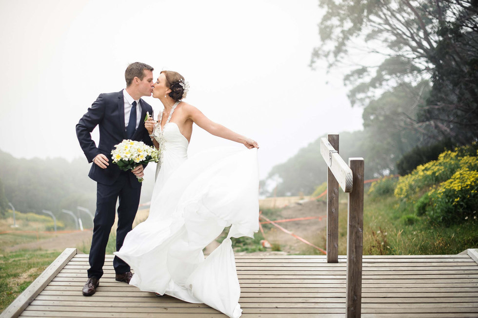 bride and groom at mt baw baw, melbourne - Galway wedding photographer