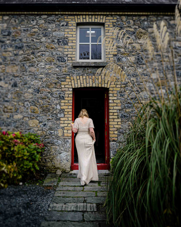 bride outside her home before her wedding - Galway wedding photograper