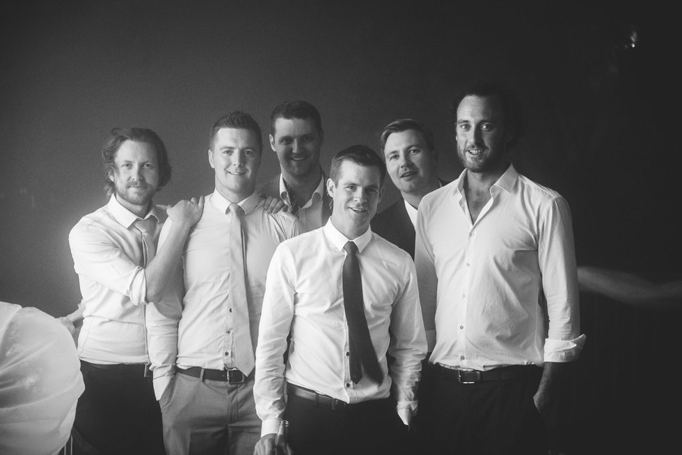 groom and grooms men at the end of the wedding night - Galway wedding photographer