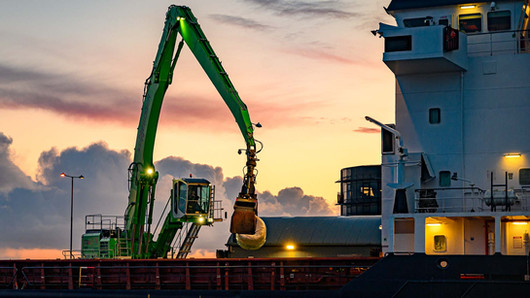 Large crane lifting items at galway port - Galway Commercial Photographer