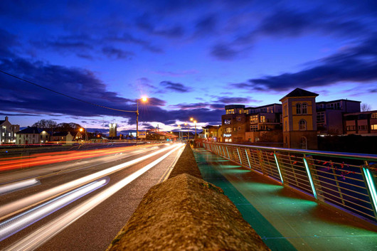 car light trails on the wolftone bridge - Galway Commercial Photogrpaher