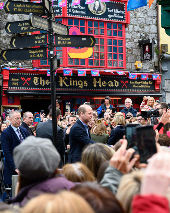 Prince William outside the kings head during the royal visit to galway. - Galway PR Photographer