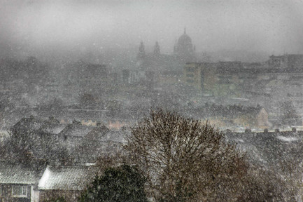 Snow storm over galway city - Galway Commercial Photogrpaher