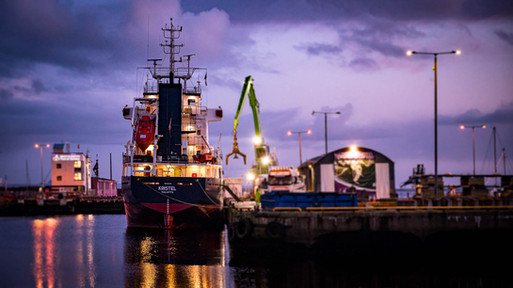 Cargo vessel being unloaded at galway port - Galway Commercial Photogrpaher