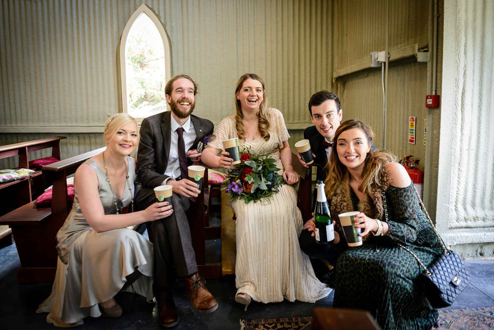 relaxed bridal party after the wedding - Galway wedding photographer