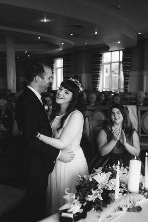 modern bride and groom in black and white - Galway wedding photographer