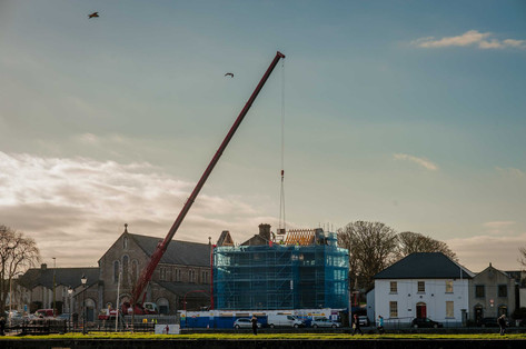 Construction crane lifting in Claddagh - Galway Commercial Photogrpaher