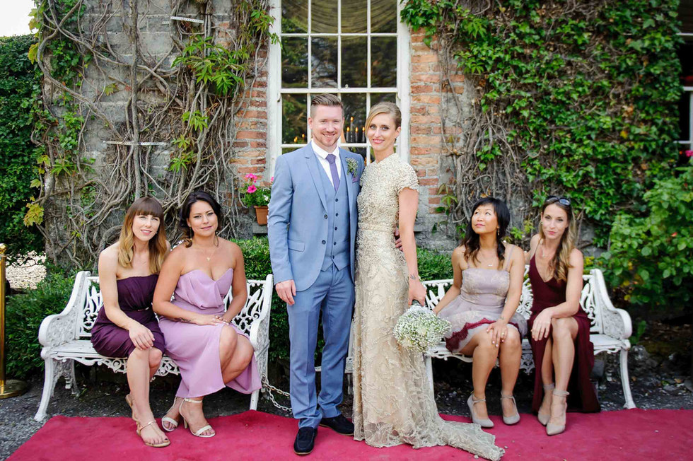 Bridal Party posing at a castle - Galway wedding photographer