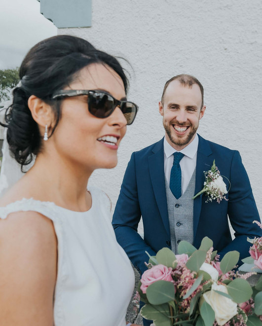 bride wearing ray ban sunglasses - Galway wedding photographer