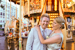bride and groom posing at a carrousel - Galway wedding photographer