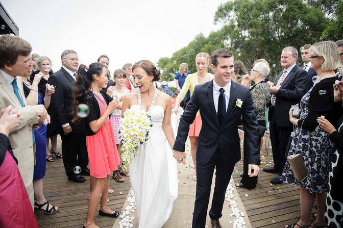 modern bride and gooom walking down the aisle - Galway wedding photographer