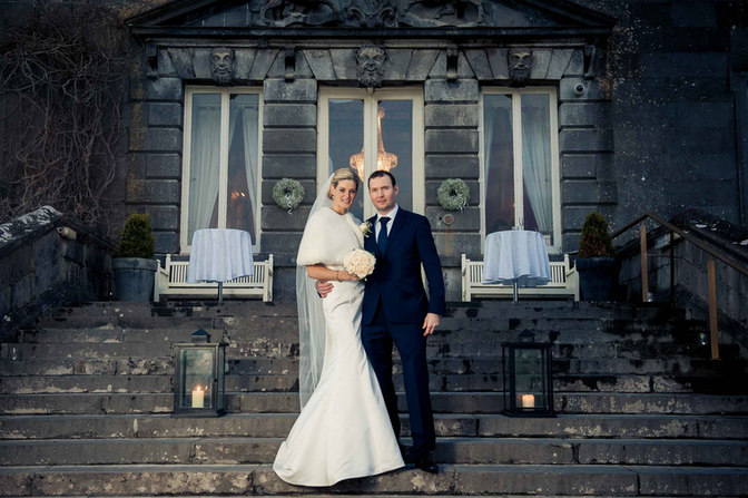 Traditional bride and groom embracing - Galway wedding photographer