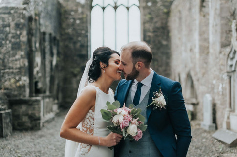 modern bride and groom kissing - Galway wedding photographer