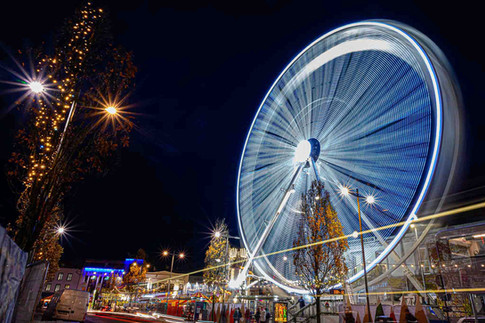 Big wheel spinning over eyre square - Galway Commercial Photogrpaher