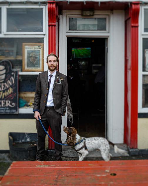 groom with his dog - Galway wedding photographer