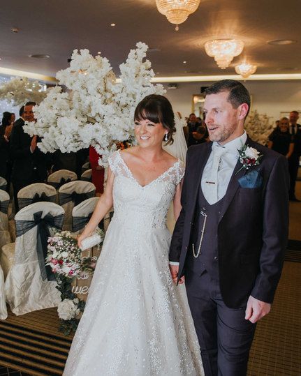 bride and groom smiling after the ceremony - Galway wedding photographer