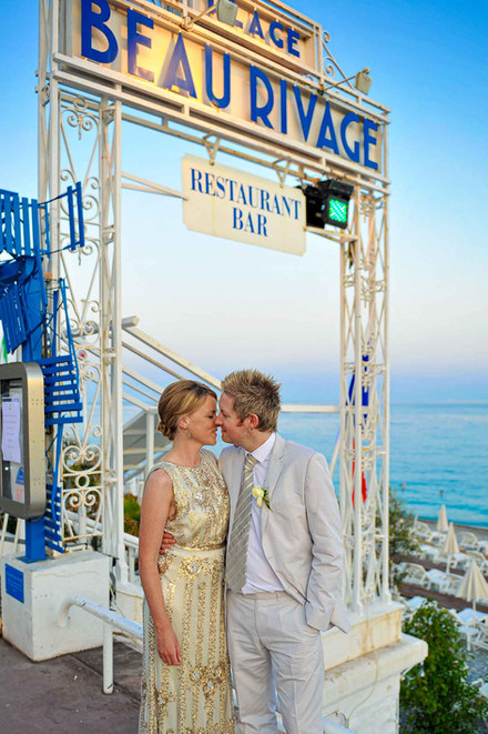 bride and groom kissing in nice france - Galway wedding photographer
