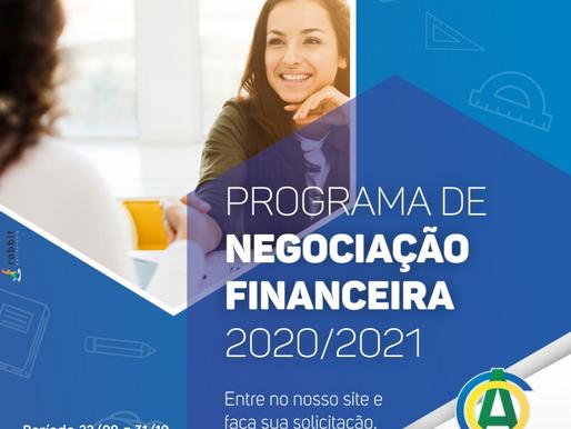 Regularize e Parcele suas pendências Financeiras no Programa de Negociação Especial 2020/2021