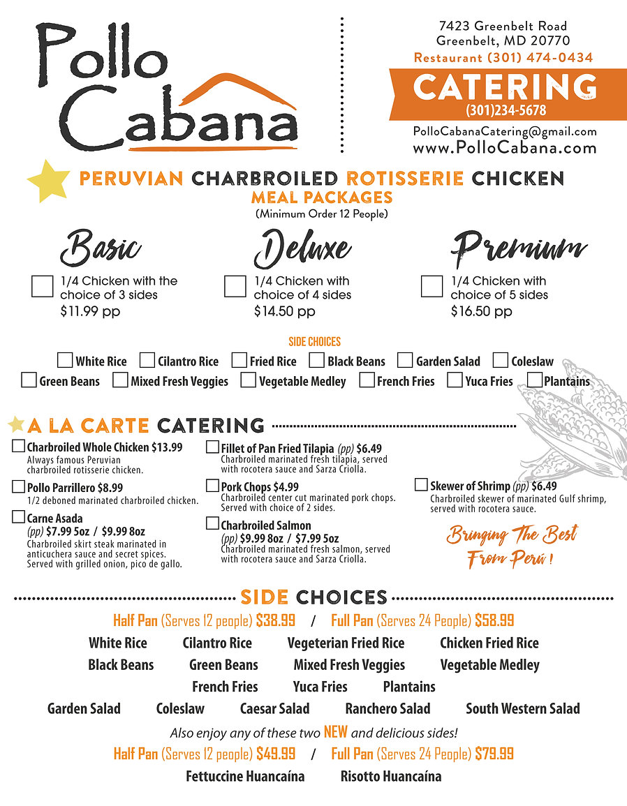EASY ORDER FORM CATERING PAGE 1 CHANGES