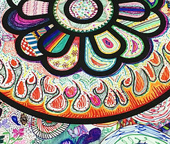 """Detail from a 6' x 30"""" group doodle banner"""