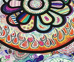 "Detail from a 6' x 30"" group doodle banner"