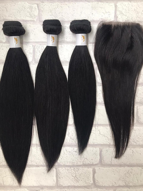 Admyhair Silky Straight Bundles + Closure (One Length)