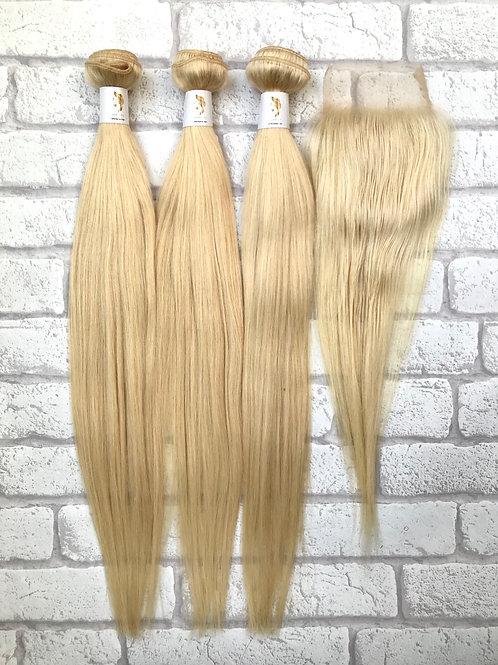 Admyhair Blonde One Length Bundle Set with 4 x 4  CLosure