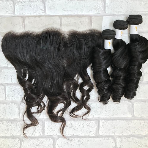 Admyhair Bouncy Bodywave Bundles +Frontal (One Length)