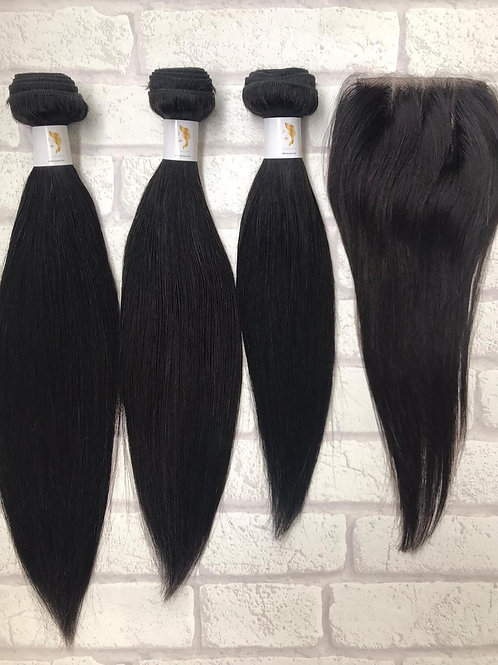 Admyhair One Length Bundle Set with 4 x 4 Closure Natural Colour