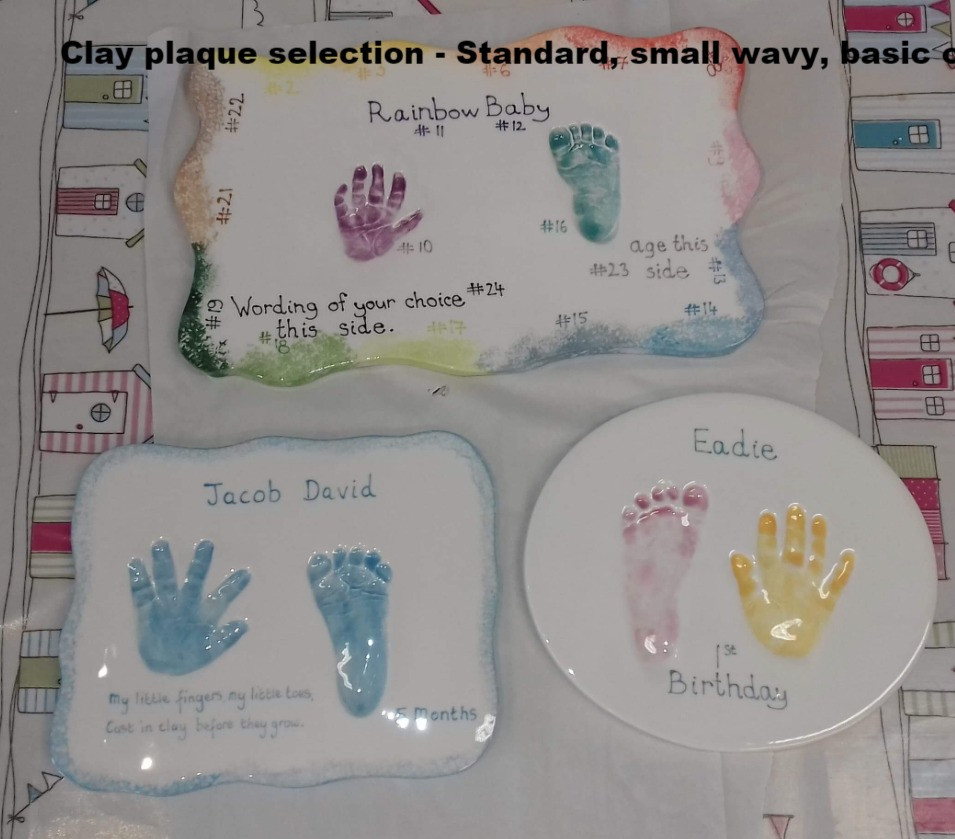selection of most popular clay plaque sizes.  Standard size, small wavy, basic oval